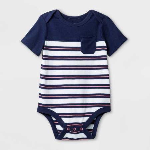 Cat & Jack Other - Cat & Jack 12M striped navy coral white onesie